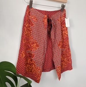 New Anthropologie Maeve Red Wrap Skirt